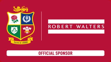 red box with lions logo that says robert walters is the official sponsor in 2017