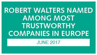 teal image with white writing discussing robert walters being names most trustworthy companies in europe