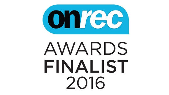 onrec awards 2017 finalist logo with blue and black