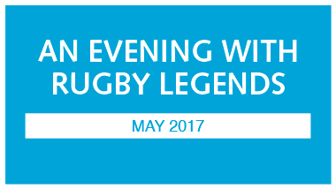 blue image with white writing that says an evening with rugby legends