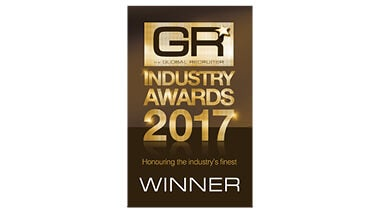global recruiter industry awards logo, gold and brown rectangle