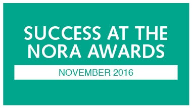 teal image with white that says success at the nora awards november 2016