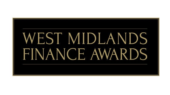 West Midlands Finance Awards writing with a black background and a gold boarder