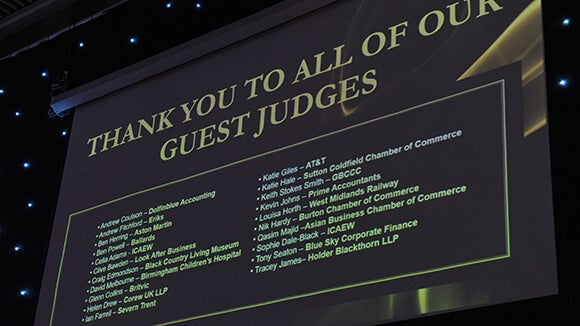 Table with all of finance awards guest judges names listed