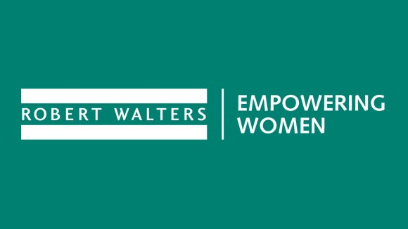 green image background with robert walters and empowering women in the workplace logo