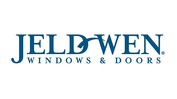 JELD-WEN's logo in blue and white