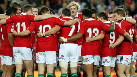 Lions group huddle at british lions tour