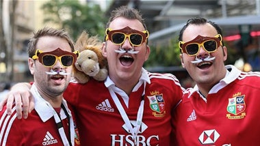 Fans wearing British Lions Rugby shirts