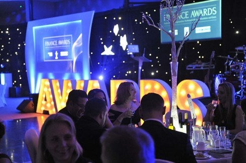 Finance Awards evening sign and screen