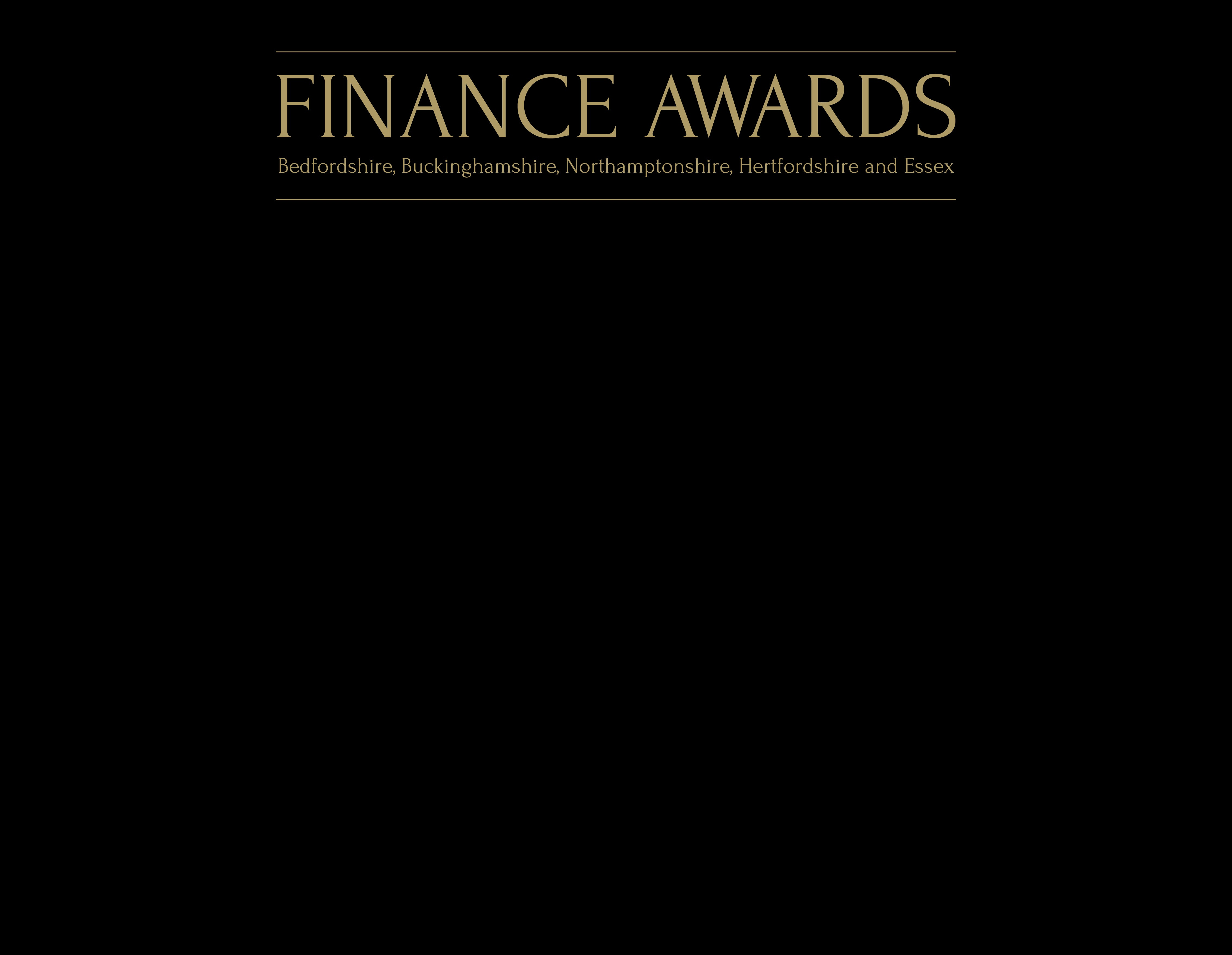 Finance Awards logo with a black background and a gold boarder and black banner