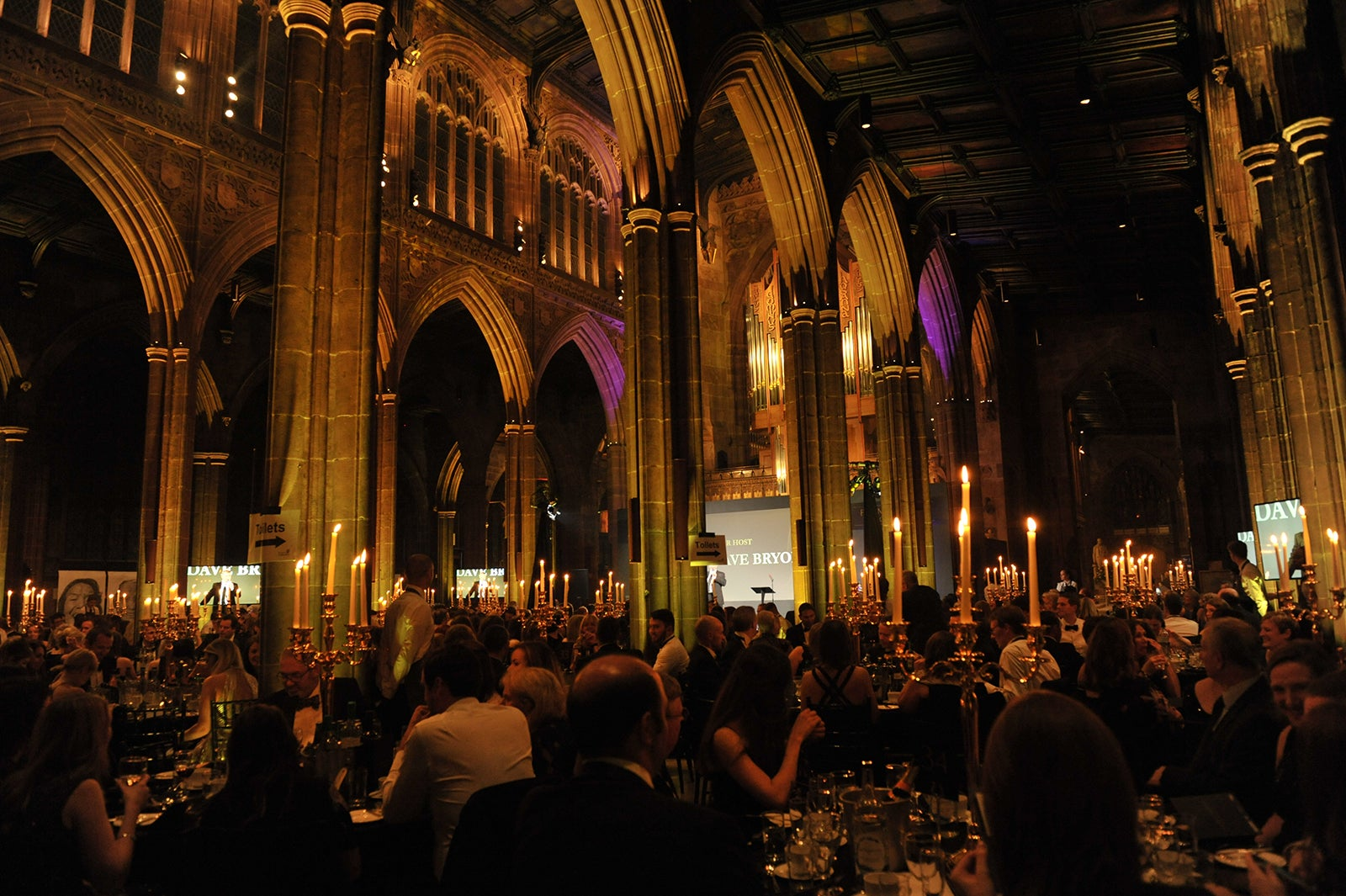 Finance Awards North West evening ceremony three course dinner in candle-lit manchester cathedral in city centre