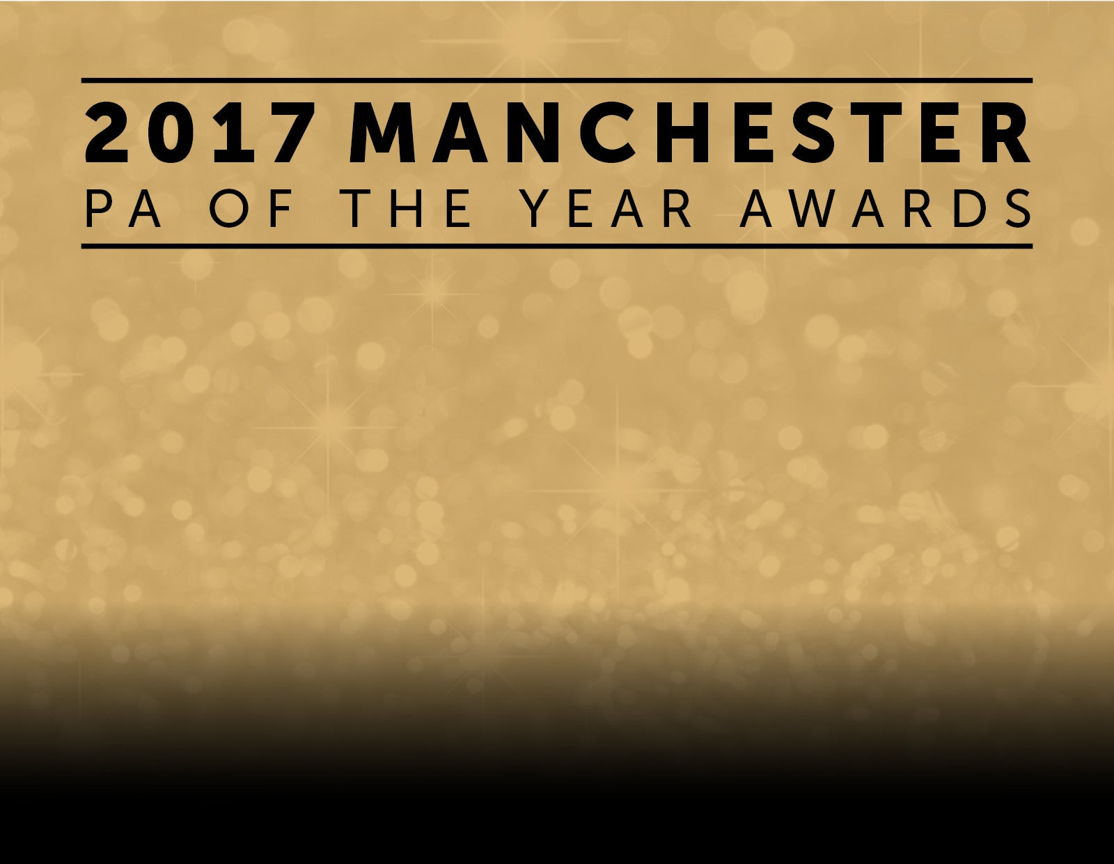 silver sparkly background with 2017 Manchester PA of the Year Awards written on in pink