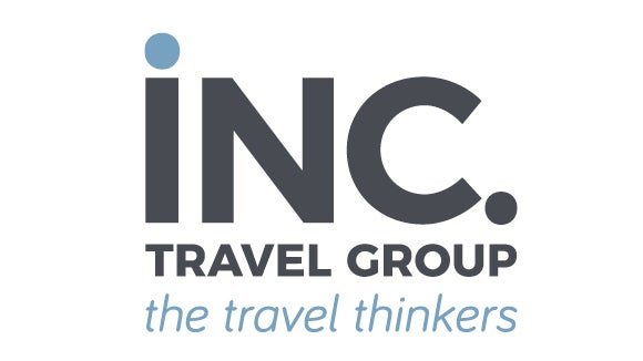 inc travel group logo in grey and blue