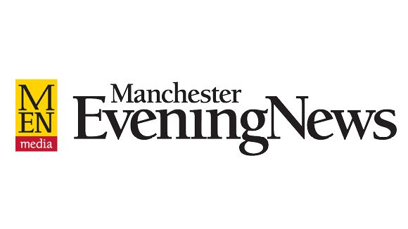 Manchester evening news logo with yellow background and red bar