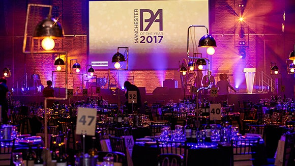 the Manchester PA Awards decorated room from 2017