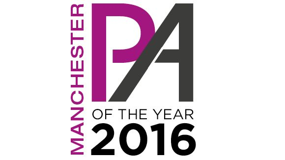 Manchester PA of the Year Awards 2016 logo in purple, grey and black