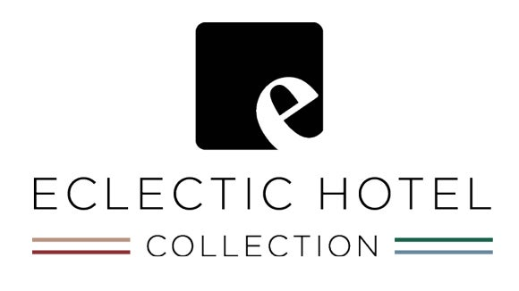 eclectic hotels logo with red and green stripes and black writing