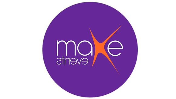 old make events logo with purple circle and white and orange writing