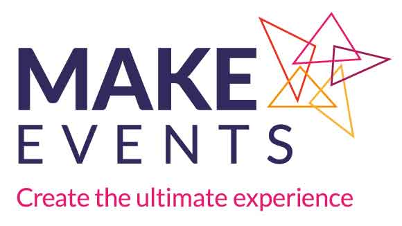 make events logo with colourful trangles