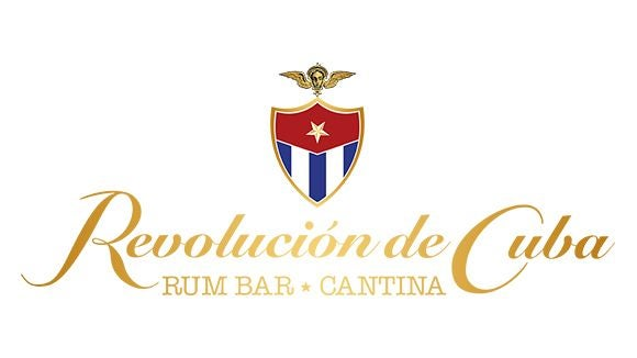 revolution de cuba logo with colourful flag and gold writing