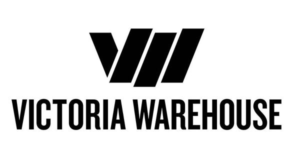 victoria warehouse logo in black and white