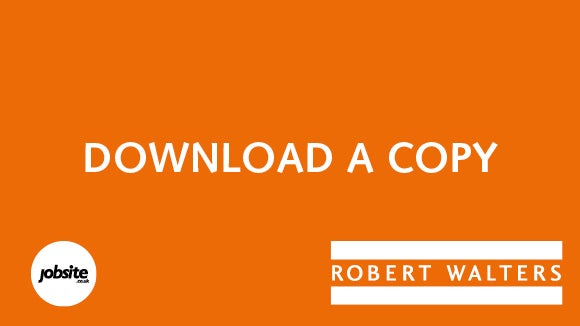 Orange Robert Walters logo with Jobsite logo that says download a copy
