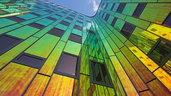office building with coloured reflections