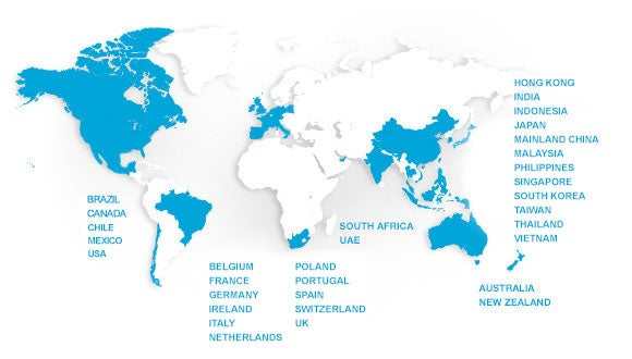 Robert Walters map of global offices