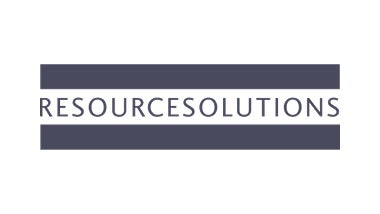 Resource Solutions logo on blue background